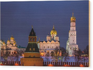 Kremlin Cathedrals At Night - Featured 3 Wood Print by Alexander Senin