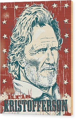 Kris Kristofferson Pop Art Wood Print