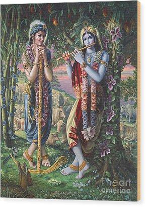 Krishna And Balaram  Wood Print
