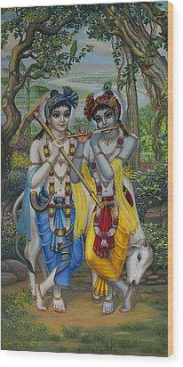 Krishna And Balaram Wood Print by Vrindavan Das
