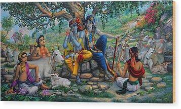 Krishna And Balaram With Friends On Govardhan Hill Wood Print by Vrindavan Das