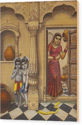 Krishna And Ballaram Butter Thiefs Wood Print by Vrindavan Das