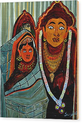 Wood Print featuring the painting Krishna And Radha by Anand Swaroop Manchiraju