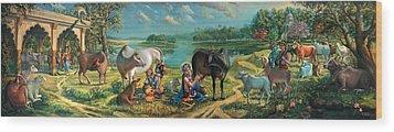 Krishna Balaram Milking Cows Wood Print by Vrindavan Das