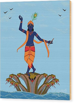 Krishna Dancing On Kaliya Wood Print