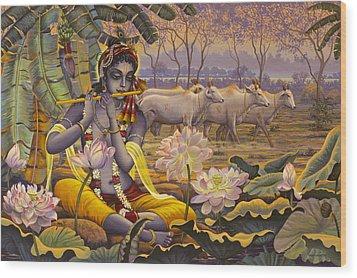 Krishna. Evening Flute Wood Print by Vrindavan Das