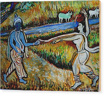 Wood Print featuring the painting Krishna In   Madhura  by Anand Swaroop Manchiraju