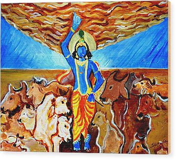 Wood Print featuring the painting Krishna Lifting Govardhan Hill by Anand Swaroop Manchiraju