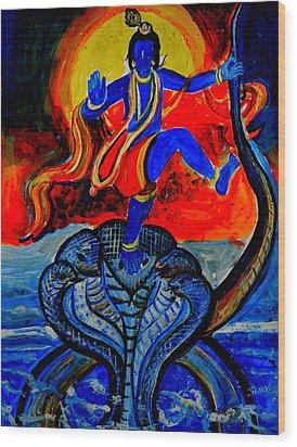 Wood Print featuring the painting Krishna On Kalindimardan by Anand Swaroop Manchiraju