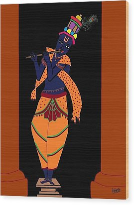 Krishna Playing Flute Wood Print
