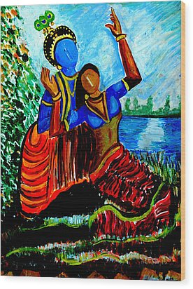 Wood Print featuring the painting Krishna  Playing With Radha by Anand Swaroop Manchiraju