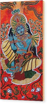 Wood Print featuring the painting Krishna by Saranya Haridasan