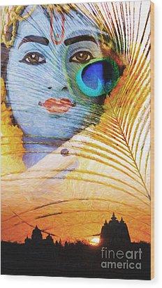 Krishna Temple Sunrise Wood Print by Tim Gainey