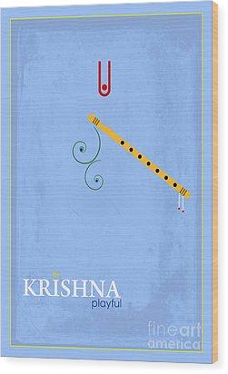 Krishna The Playful Wood Print by Tim Gainey