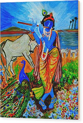 Wood Print featuring the painting Krishna With Cow by Anand Swaroop Manchiraju