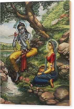 Krishna With Radha Wood Print by Vrindavan Das