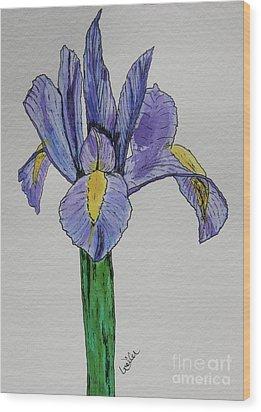 Kristinas Iris Wood Print by Marcia Weller-Wenbert