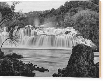 Krka Waterfalls Bw Wood Print