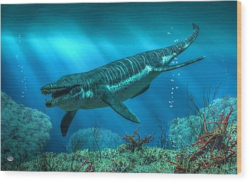 Kronosaurus Wood Print by Daniel Eskridge