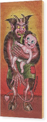 Krumpus And Baby New Year Wood Print by David Shumate
