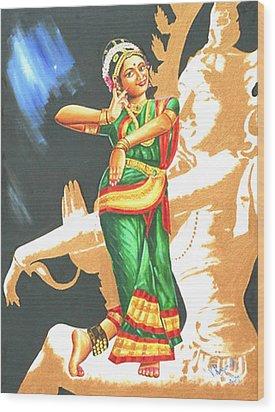 Wood Print featuring the painting Kuchipudi- The Dance Of The Gods by Ragunath Venkatraman