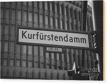 Kurfurstendamm Street Sign Berlin Germany Wood Print by Joe Fox