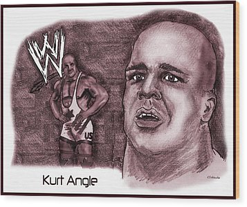 Wood Print featuring the mixed media Kurt Angle by Chris  DelVecchio