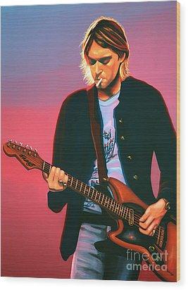 Kurt Cobain In Nirvana Painting Wood Print by Paul Meijering