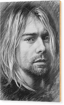 Kurt Cobain Wood Print by Viola El