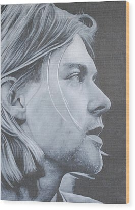 Wood Print featuring the painting Kurt Cobain by David Dunne