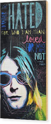Kurt Cobain Wood Print by Erica Falke
