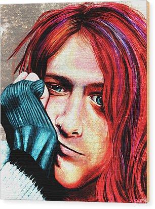 Kurt Cobain - Grungy Version Wood Print by Shawna Rowe