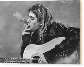 Kurt Cobain Guitar  Wood Print by Viola El