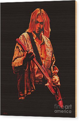 Kurt Cobain Painting Wood Print by Paul Meijering