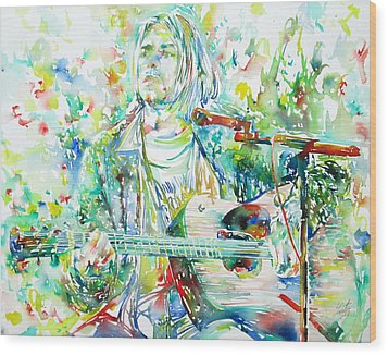 Kurt Cobain Playing The Guitar - Watercolor Portrait Wood Print by Fabrizio Cassetta