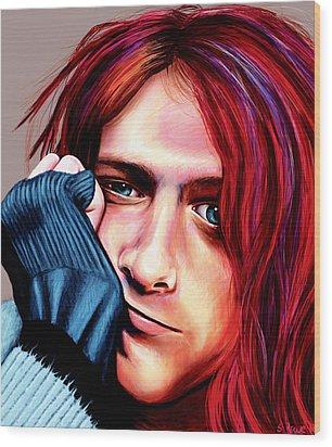Wood Print featuring the painting Kurt Cobain by Shawna Rowe