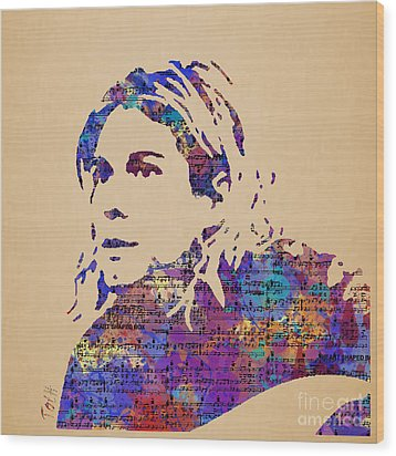 Kurt Cobain Watercolor Wood Print