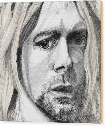 Wood Print featuring the drawing Kurt by Michele Engling