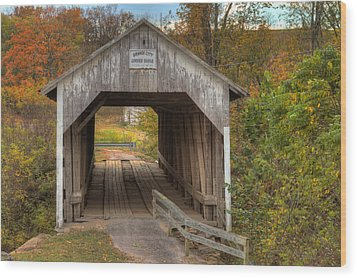 Ky Hillsboro Or Grange City Covered Bridge Wood Print by Jack R Perry