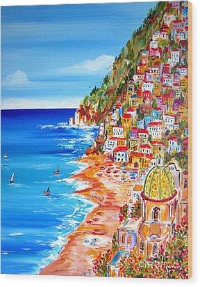 La Bella Positano Amalfi Coast Wood Print by Roberto Gagliardi