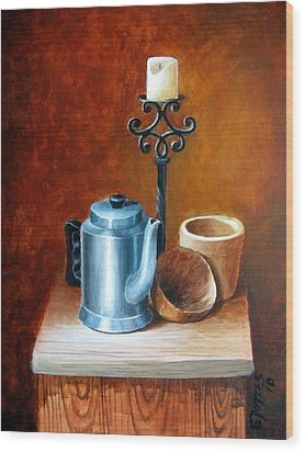 La Cafetera Wood Print by Edgar Torres