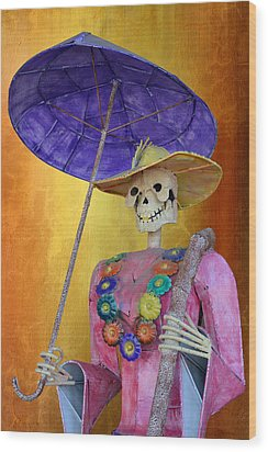 Wood Print featuring the photograph La Catrina With Purple Umbrella by Christine Till