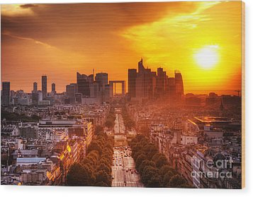 La Defense And Champs Elysees At Sunset Wood Print by Michal Bednarek