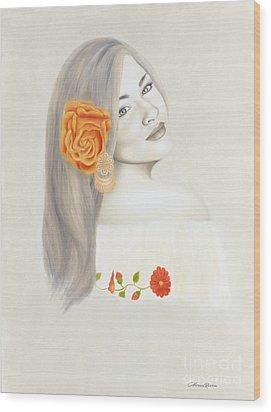 La Diva Wood Print by Lorena Rivera