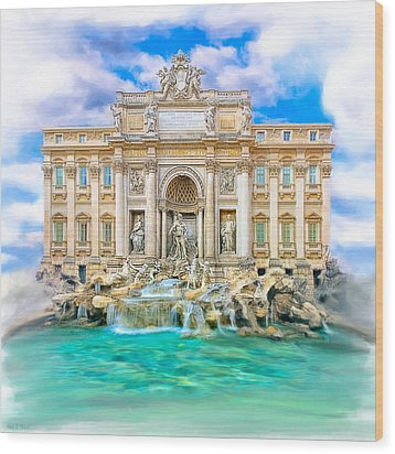 La Dolce Vita - The Trevi Fountain In Rome Wood Print by Mark E Tisdale