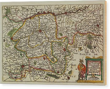 La Fandre Gallicane Vintage Map Wood Print by Inspired Nature Photography Fine Art Photography