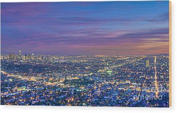 La Fiery Sunset Cityscape Skyline Wood Print by David Zanzinger