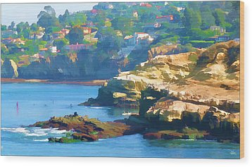 La Jolla California Cove And Caves Wood Print