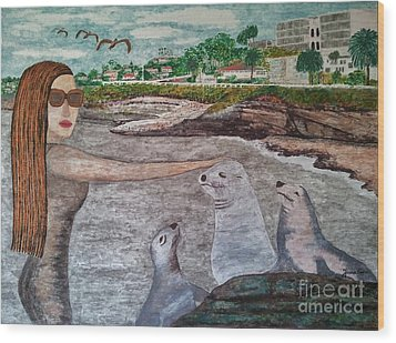 Wood Print featuring the painting La Jolla  San Diego by Jasna Gopic