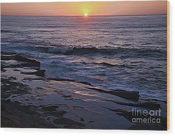 La Jolla Sunset Reflection Wood Print by Sharon Soberon